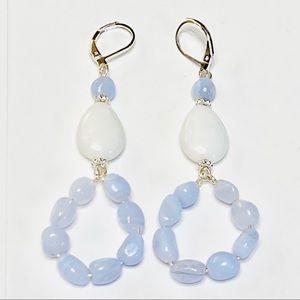 Artisan Blue Chalcedony & White Agate Earrings